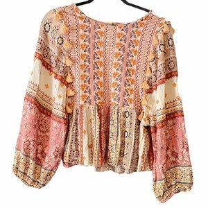 American eagle boho bell sleeve peasant blouse S